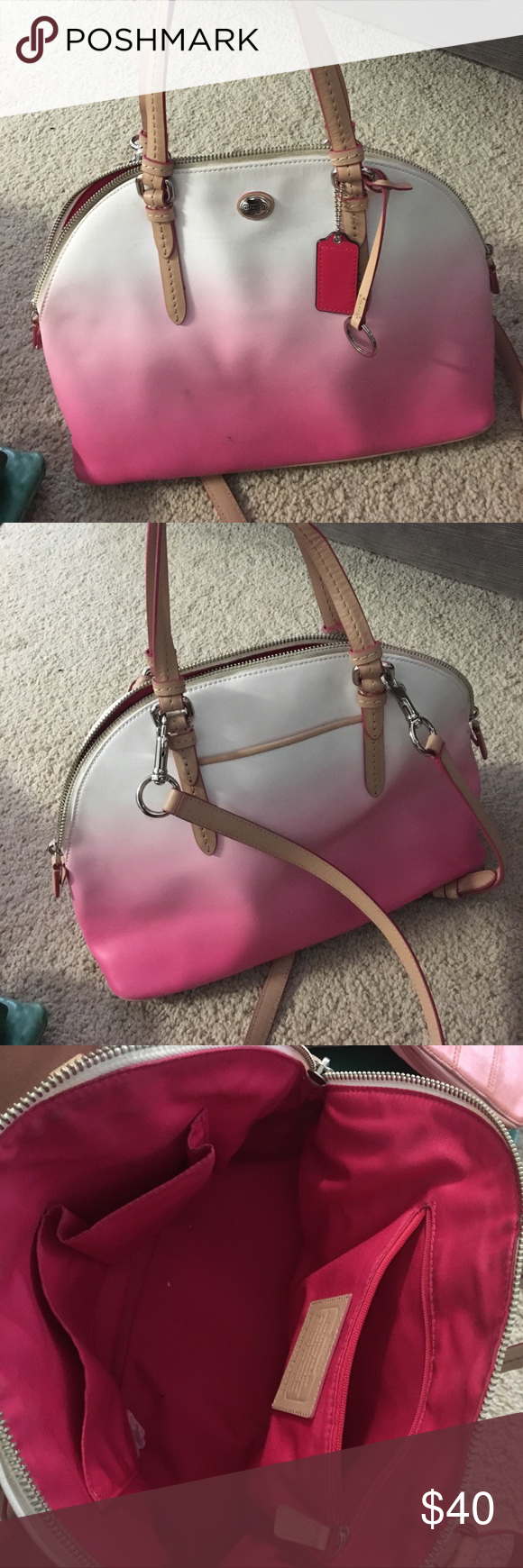Closeout Coach Tote Red Ombre A17b4 53ca7 Swagger Wristlet In Pebble Leather Watermelon Discount Pink Ombr Purse Beautiful Slightly Used With Some Marks On