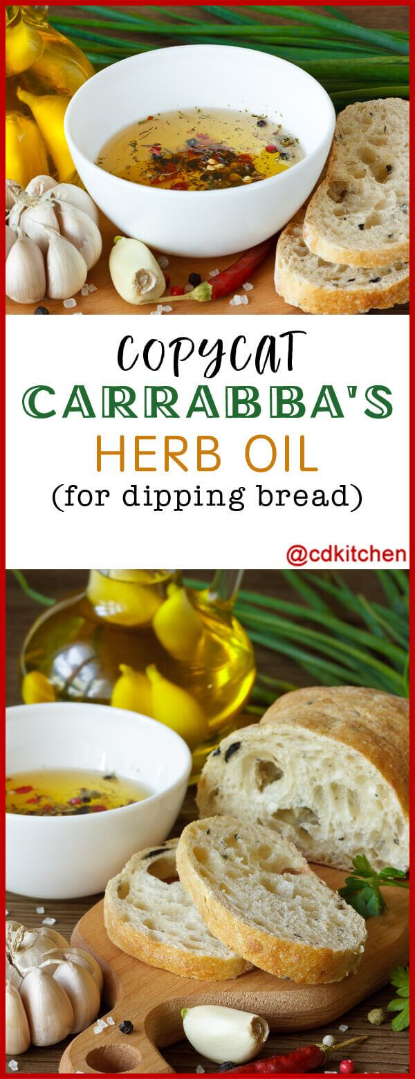 Copycat Carrabba's Herb Oil for Dipping Bread - The herb blend of basil, parsley, and rosemary are what make this bread dipping sauce recipe a close copycat to Carrabba's version. | CDKitchen.com #oliveoils