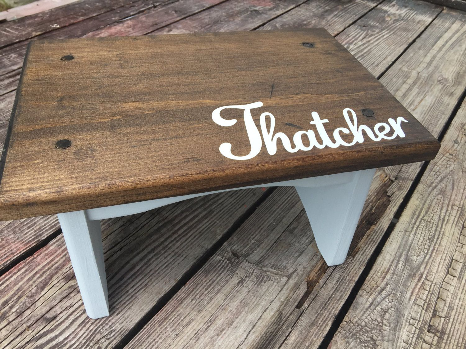 Groovy Wood Wooden Childs Step Stool With Name Personalized Caraccident5 Cool Chair Designs And Ideas Caraccident5Info