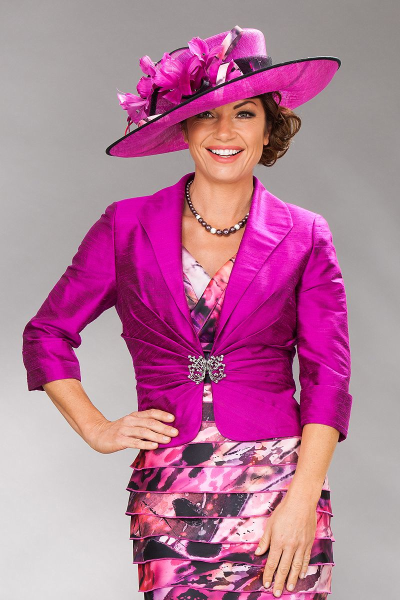 Pink dress and jacket for wedding  Condici v neck short dress with full jacket   Catherines of