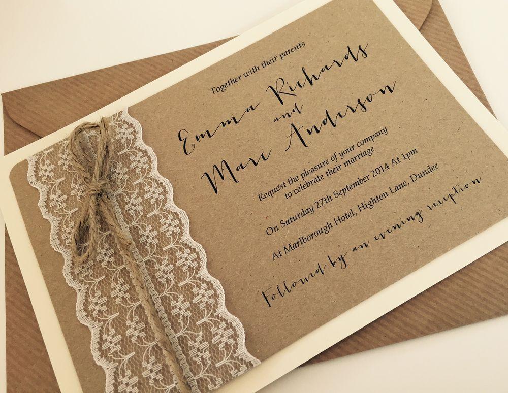 1 vintage/Rustic/Shabby Chic \'Emma\' lace Wedding Invitation & RSVP ...