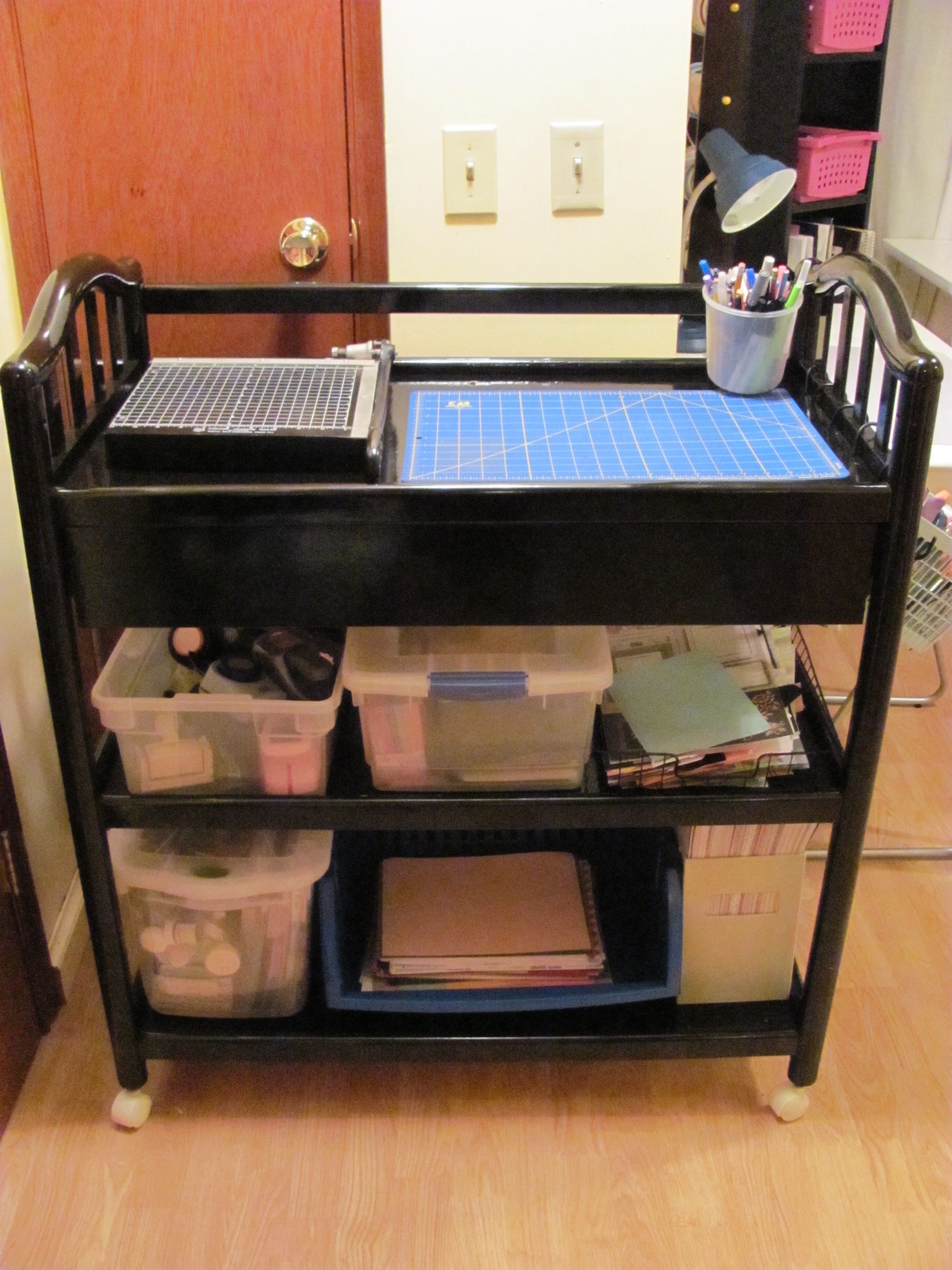 Repurposed Baby Changing Table Made Into A Rolling Craft Cart