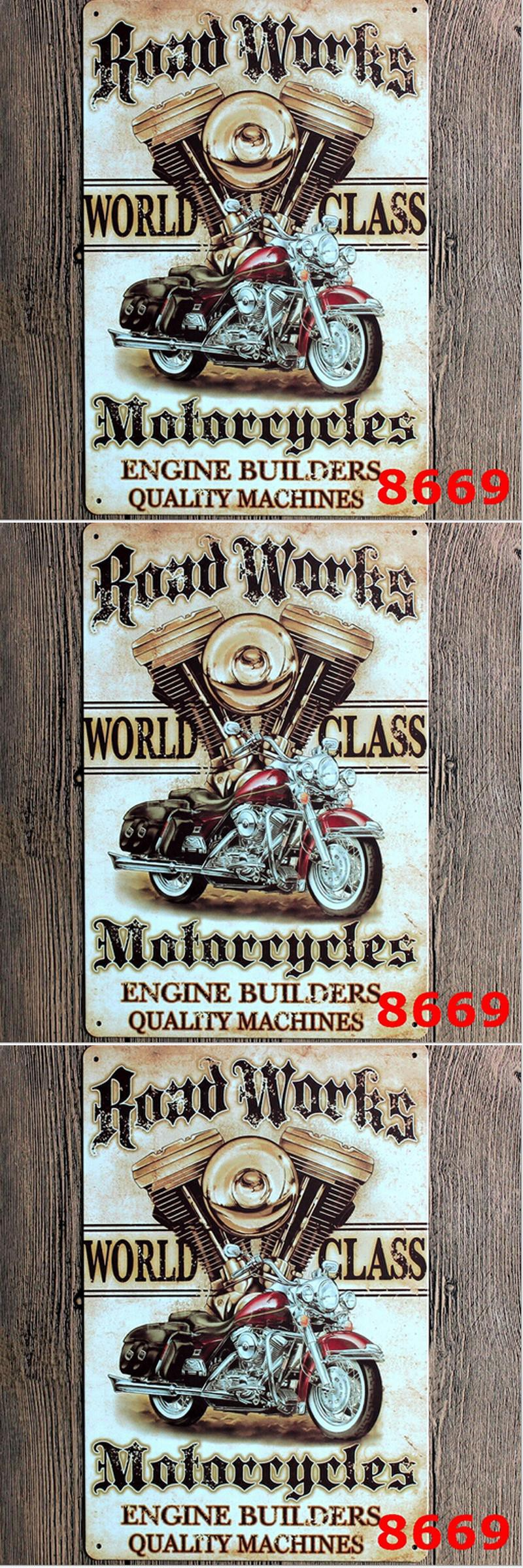 Road works motorcycle metal painting wall stickers restaurant bar