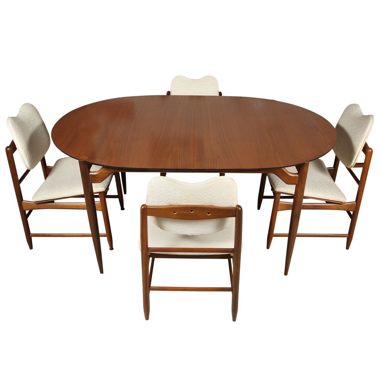 Greta grossman dining table with rosewood top and set of four greta grossman dining table with rosewood top and set of four chairs in walnut and upholstery geotapseo Gallery