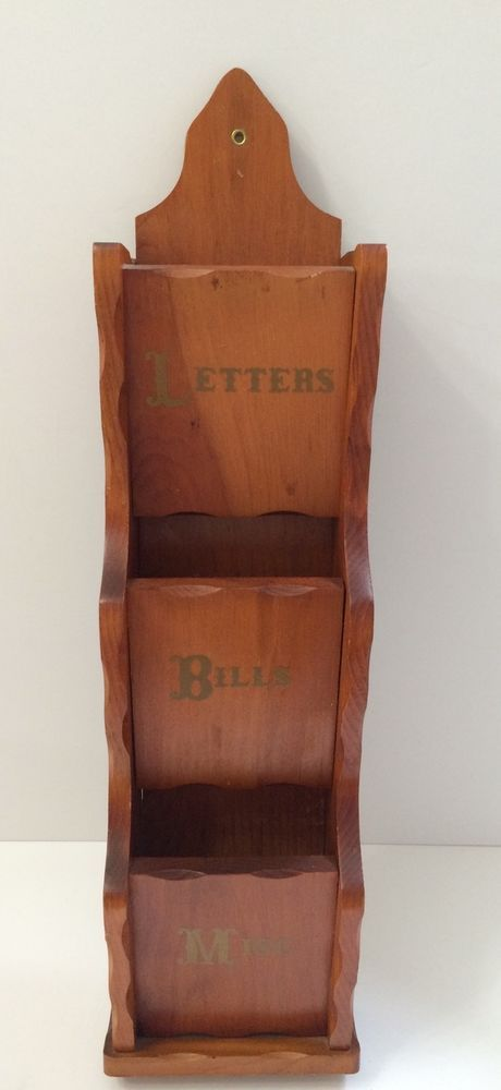 Vintage Wood Letter Bill Mail Holder Storage Organizer Wall Mount Rack Slots Mail Holder Wall Organization Wood Letters