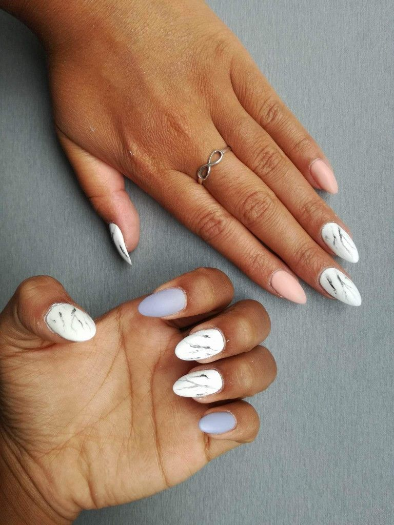 Best Friends Same Nails Marble And Pink Marble And Blue Pretty Acrylic Nails Nails Nail Art Designs