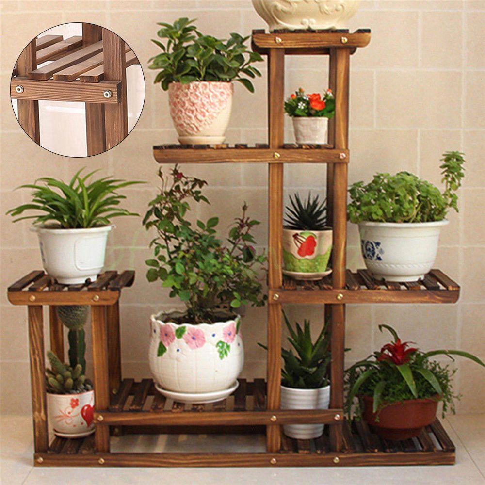 Garden Wooden Plant Stand Pot Planter Holder Rack 5 Tier Display Shelves Outdoor Unho Wooden Plant Stands Diy Plant Stand Plant Stand Indoor