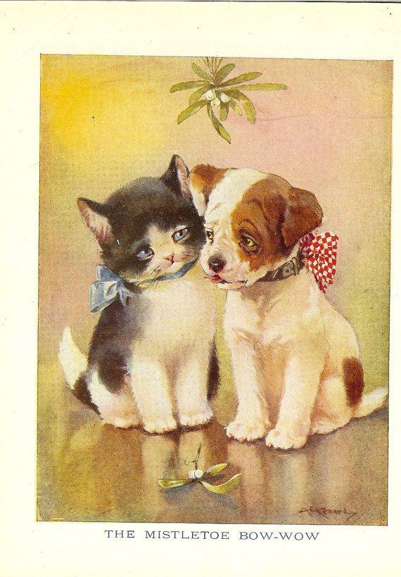 Vintage 1940/'s Children/'s Playing Card Puppy /& Kitten Blk Wht Blue Collage Craft