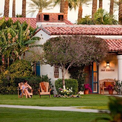 La Quinta Resort & Club    Maybe it's the way the trees fan out before a mountain backdrop–like a hand beckoning–but Palm Springs has always had that vacation-on-arrival feeling. And nowhere is the vibe stonger than at La Quinta Resort & Club, a family-friendly California classic with hacienda-style rooms, two dozen tennis courts, and a candy shop that sells throwbacks like Good & Plenty and caramel apples. But you haven't really arrived until you've booked a treatment for you and your dog…