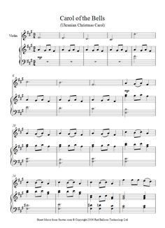 Carol Of The Bells Sheet Music For Violin Carol Of The Bells Sheet Music Violin