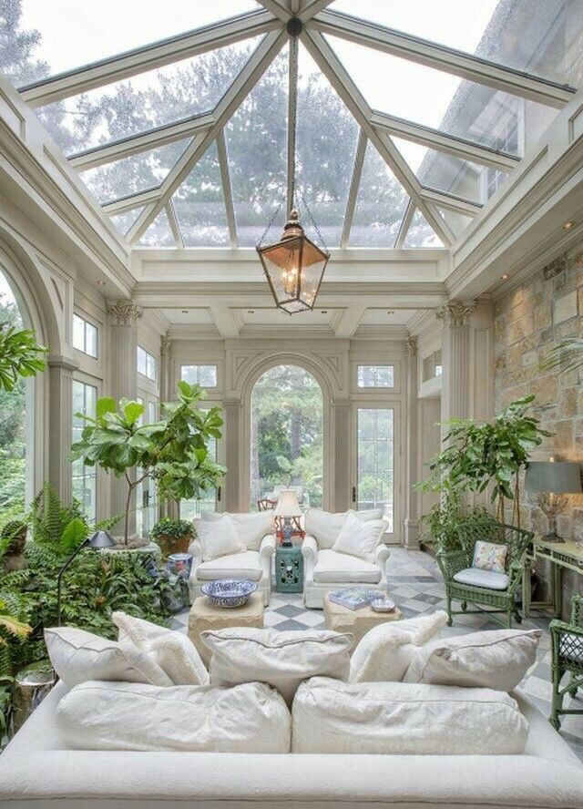 Oh what a large and comfy looking conservatory., #Comfy #Conservatory #Dreamhousenature #lar...