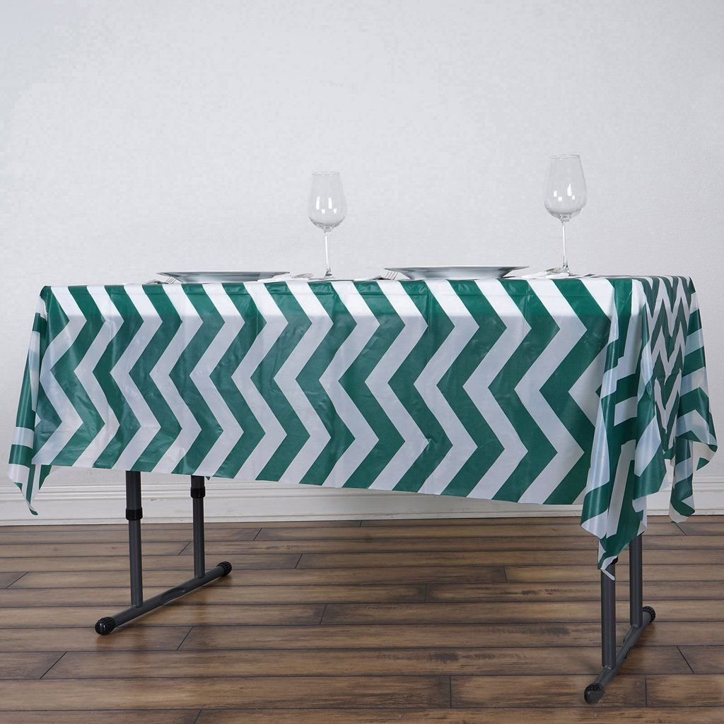 54 X 72 Hunter Emerald Green 10 Mil Thick Chevron Waterproof Tablecloth Pvc Rectangle Disposable Tablecl In 2020 Waterproof Tablecloth Table Cloth Chevron Tablecloth