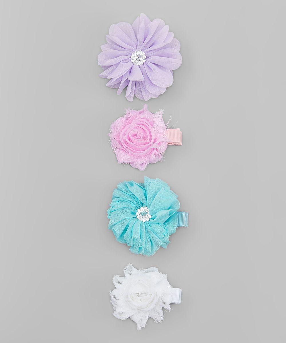 Blue & Pink Flower Clip Set