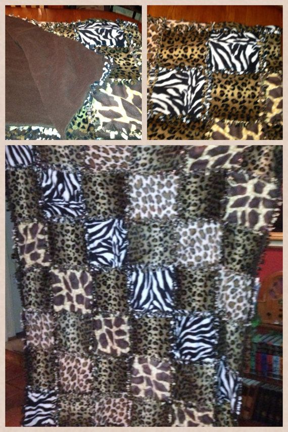 Animal Print patch quilt pattern tie fleece blanket  come