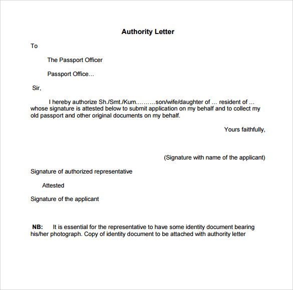Authorization Letter Passport Format Collect Material | Home