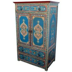 Moroccan hand painted armoire house pinterest for Moroccan hand painted furniture