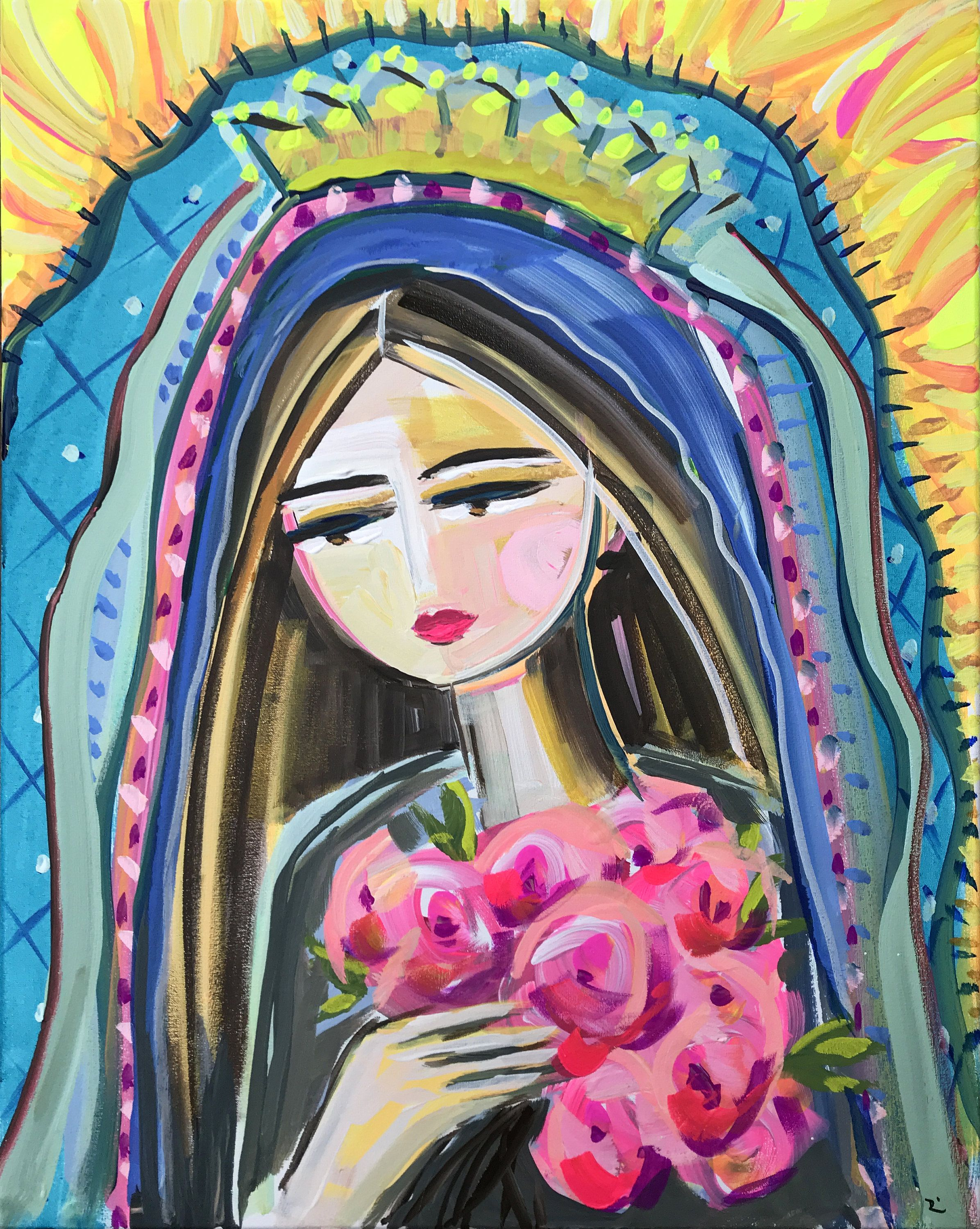 Print On Paper Or Canvas Modern Mary De Guadalupe
