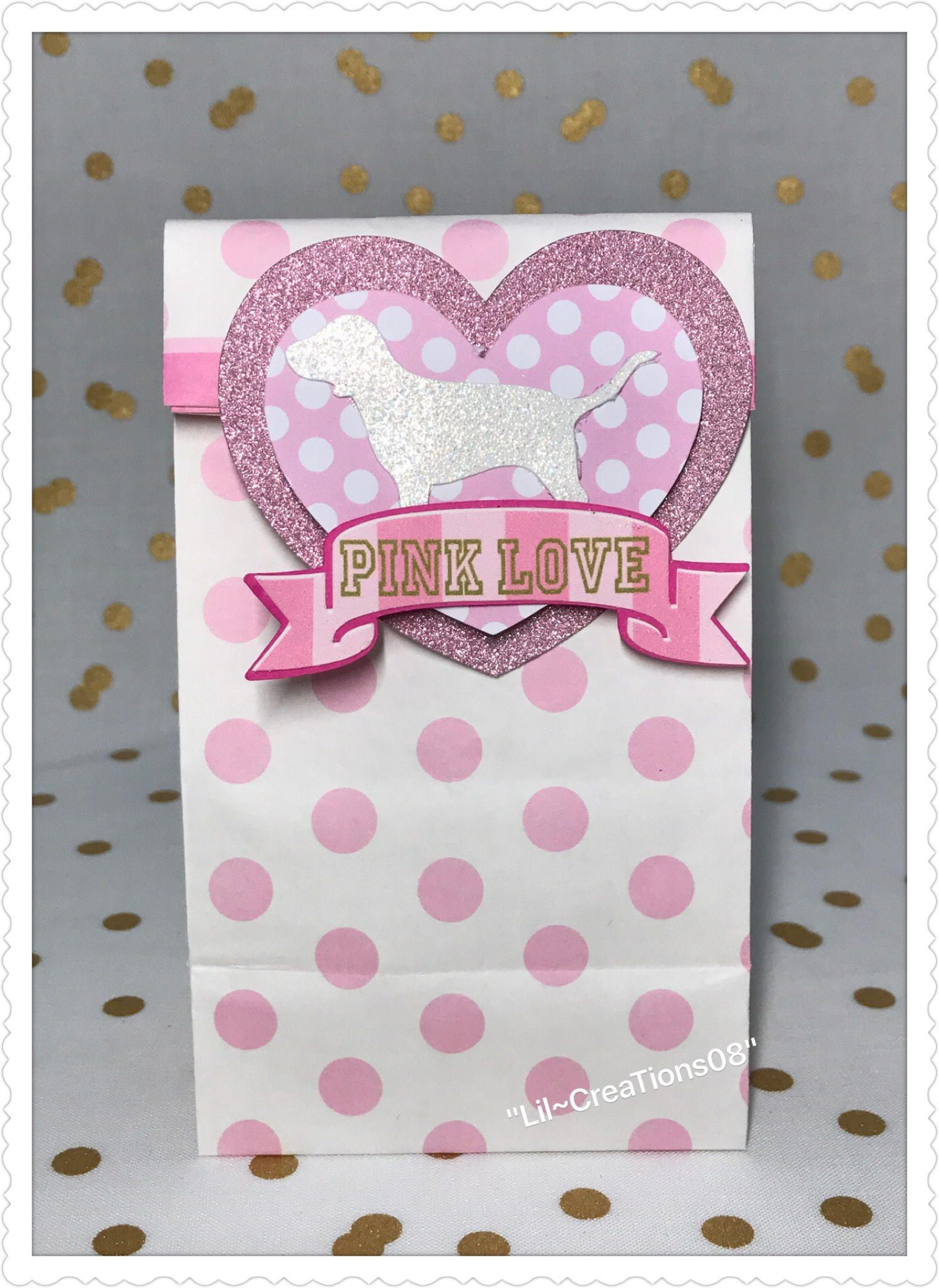 8 Pink Heart Inspired Treats Bag | Favors and Gumball