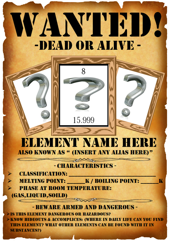 Element wanted poster project to take to create for Adopt an element project ideas