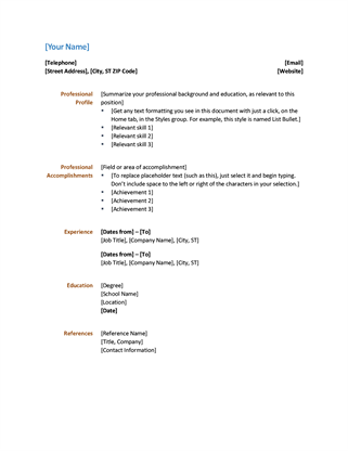 A Simple Design For A Functional Resume That Gives Your Document A