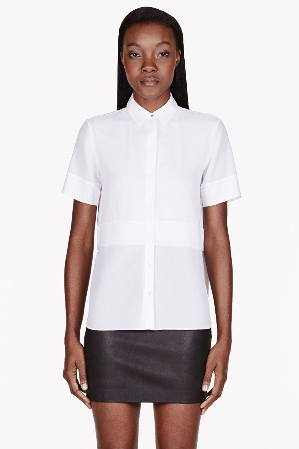 5ea1ab91917da3 T By Alexander Wang White Silk Chiffon   Crepe Short Sleeve Blouse for  women