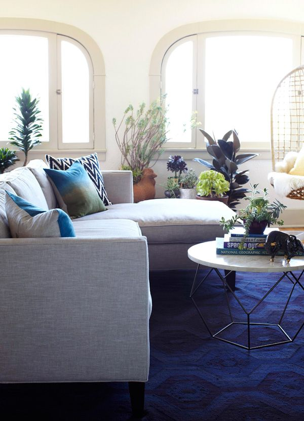 sectional sofa west elm origami coffee table rug emily henderson