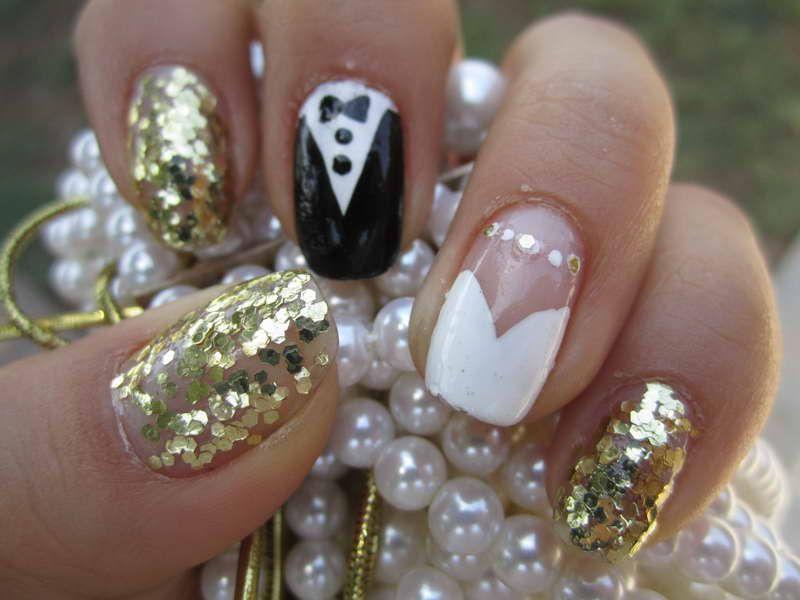 Wedding Nail Designs | Wedding Nail Designs With Gold Glitter ...