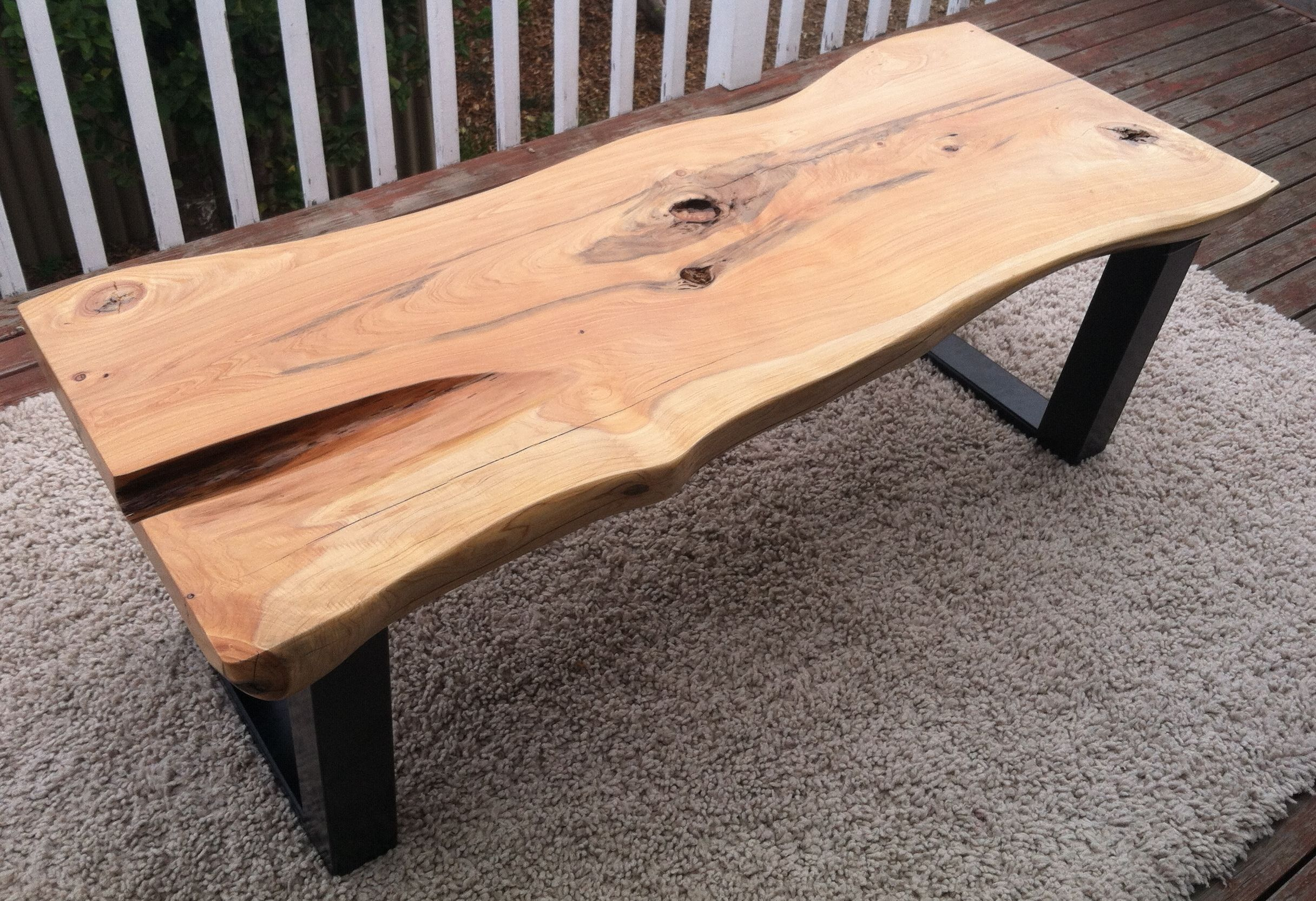 Organic Monterey Pine Slab Coffee Table with Steel Legs