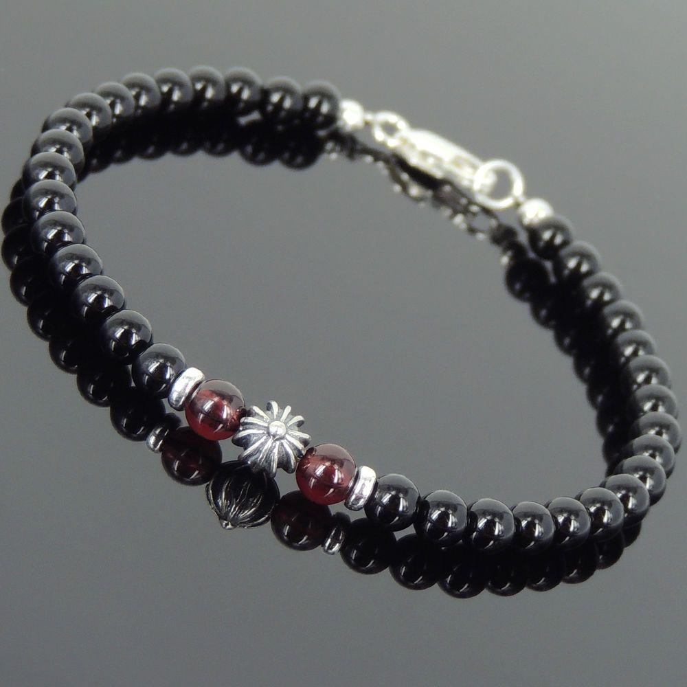 Bright black onyx garnet sterling silver bracelet mens women cross