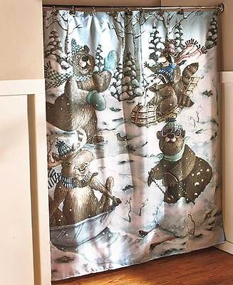 Winter Fun Bear Moose Shower Curtain Lodge Cabin Bath Set Towels Rug Decor