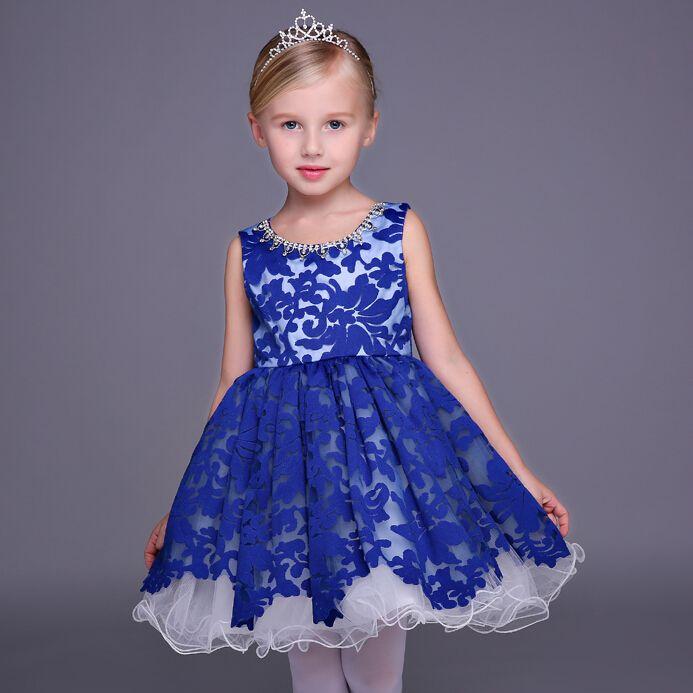 d3887571894 Wholesale 2016 Brand New Flower Girl Dresses Blue Short Party Pageant  Communion Dress Little Girl Kids Children Princess Dress for Wedding online  direct ...