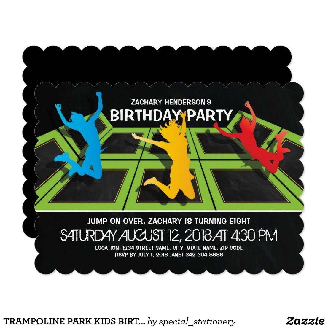 Trampoline Park Kids Birthday Party Invitation Zazzle
