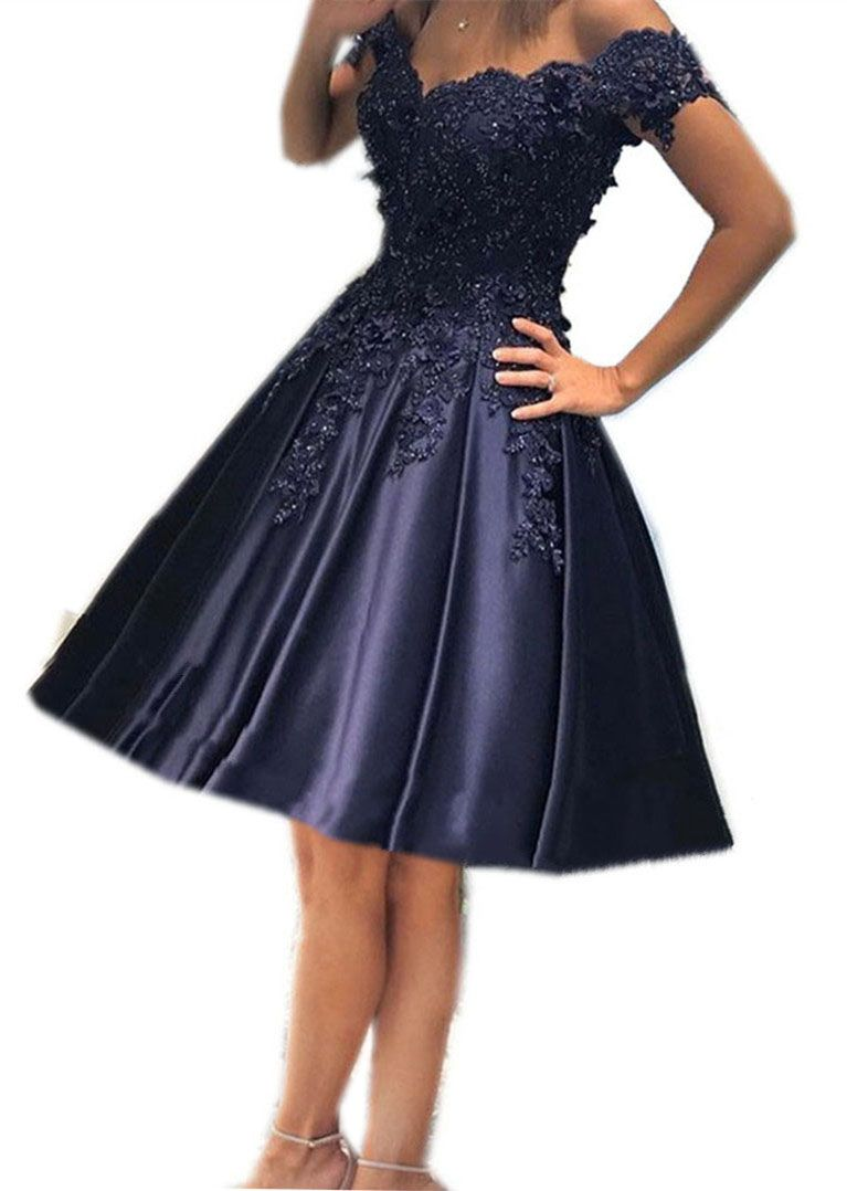 Navy Blue Homecoming Dresses Off Shoulder Prom Short Dress Lace