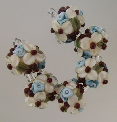 The First Rose of Summer Lampwork Focal Bead