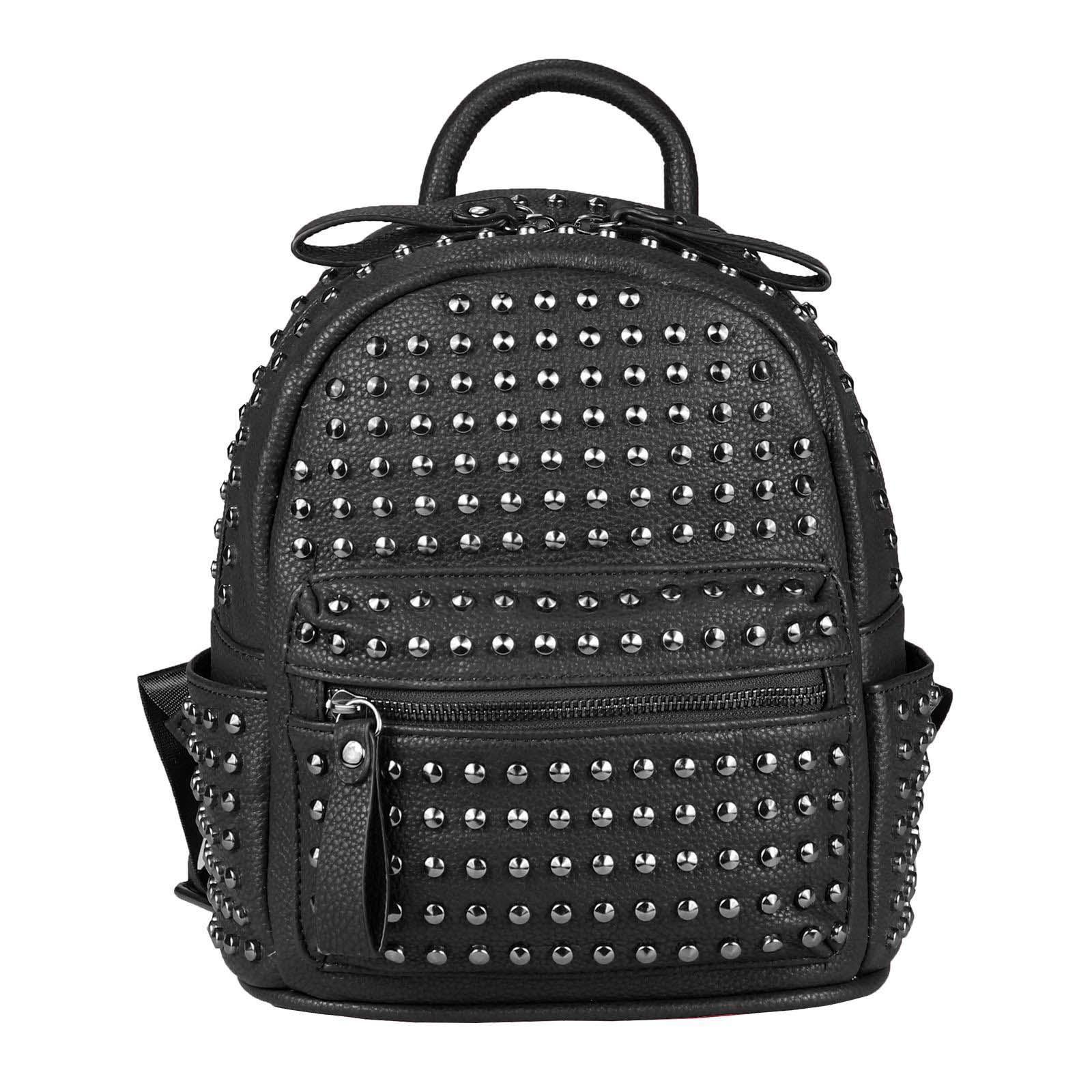 1c8506c44e634 DAMEN NIETEN RUCKSACK TASCHE Cityrucksack Stadtrucksack Metallic Backpack  Schultertasche Handtasche Umhängetasche Shopper Daypack Schwarz