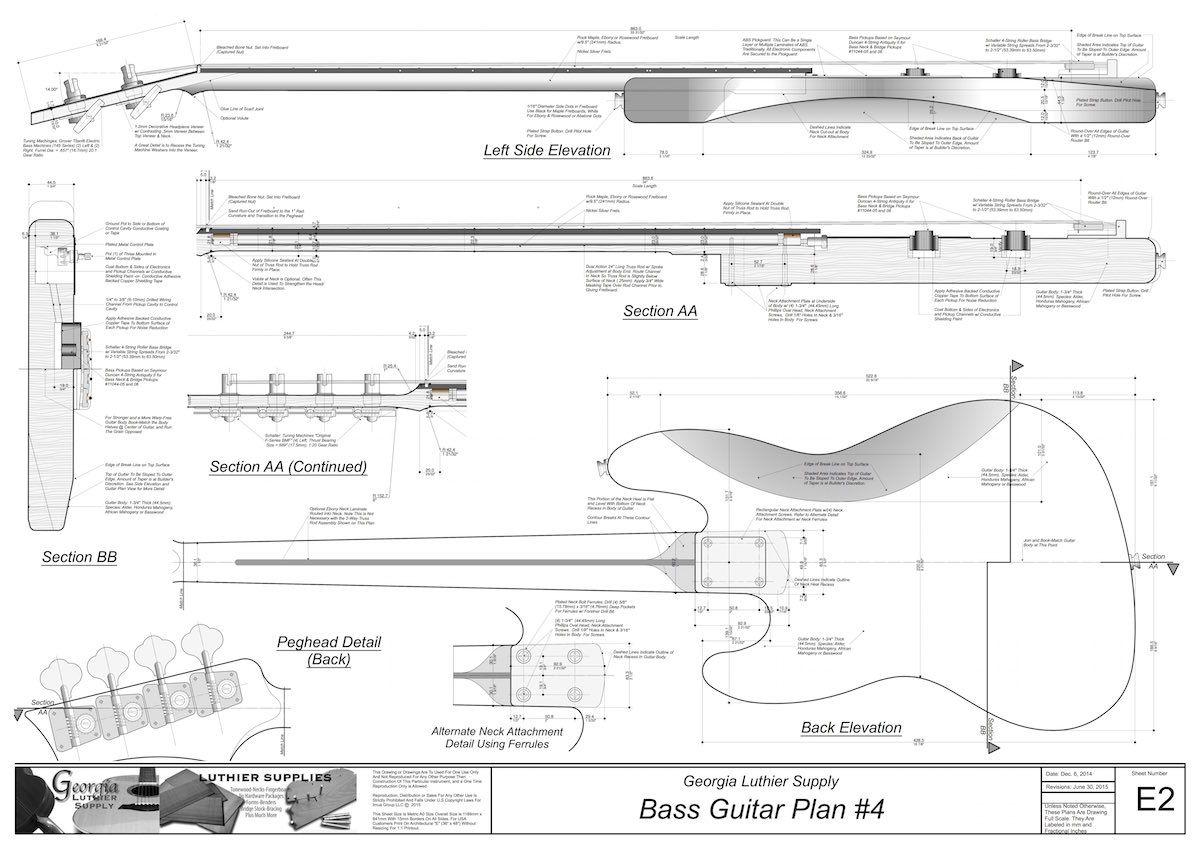 jazz bass guitar plans electric blueprints cad [ 1200 x 849 Pixel ]
