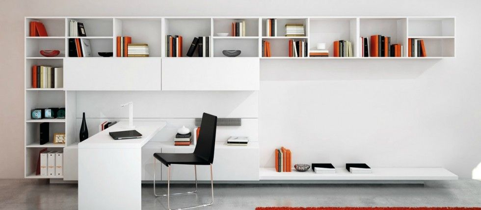 Bureau Blanc Laqué Design   Superbe Espace Bureautique Très Contemporain  Avec Un Grand Meuble Multifonctions Sur