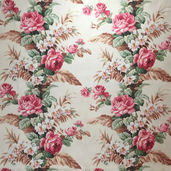 1940s 50s Drapery Fabric Vintage Cotton Upholstery Fabric