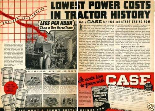 1938-Case-Motor-Lift-Implement-2-Page-Farm-Tractor-Vintage-Print-Ad