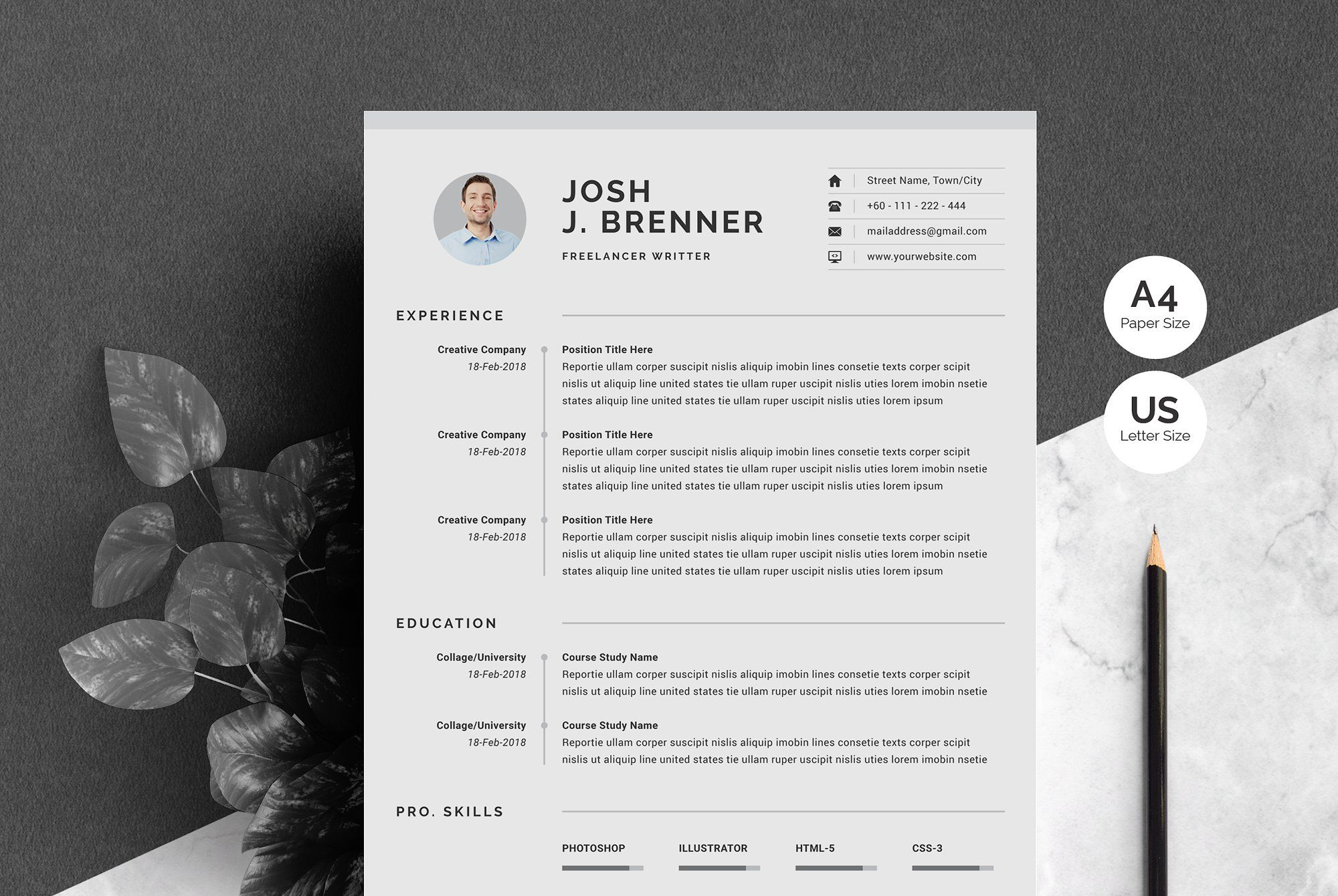Clean cv template by whitegraphic on creativemarket