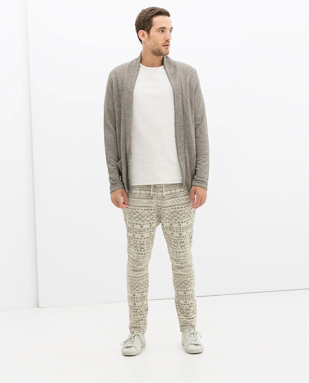 Zara flannel shirt mens  ZARA  KOLLEKTION AW  JACQUARDHOSE MIT ETHNOMUSTER  Menswear