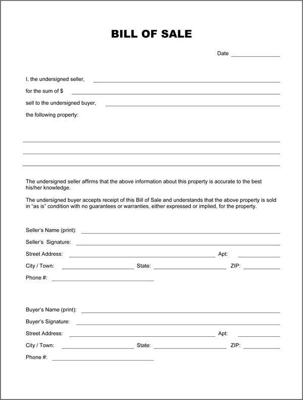 Blank Bill Of Sale Form Bill Of Sale Car Bill Of Sale Template Templates Printable Free