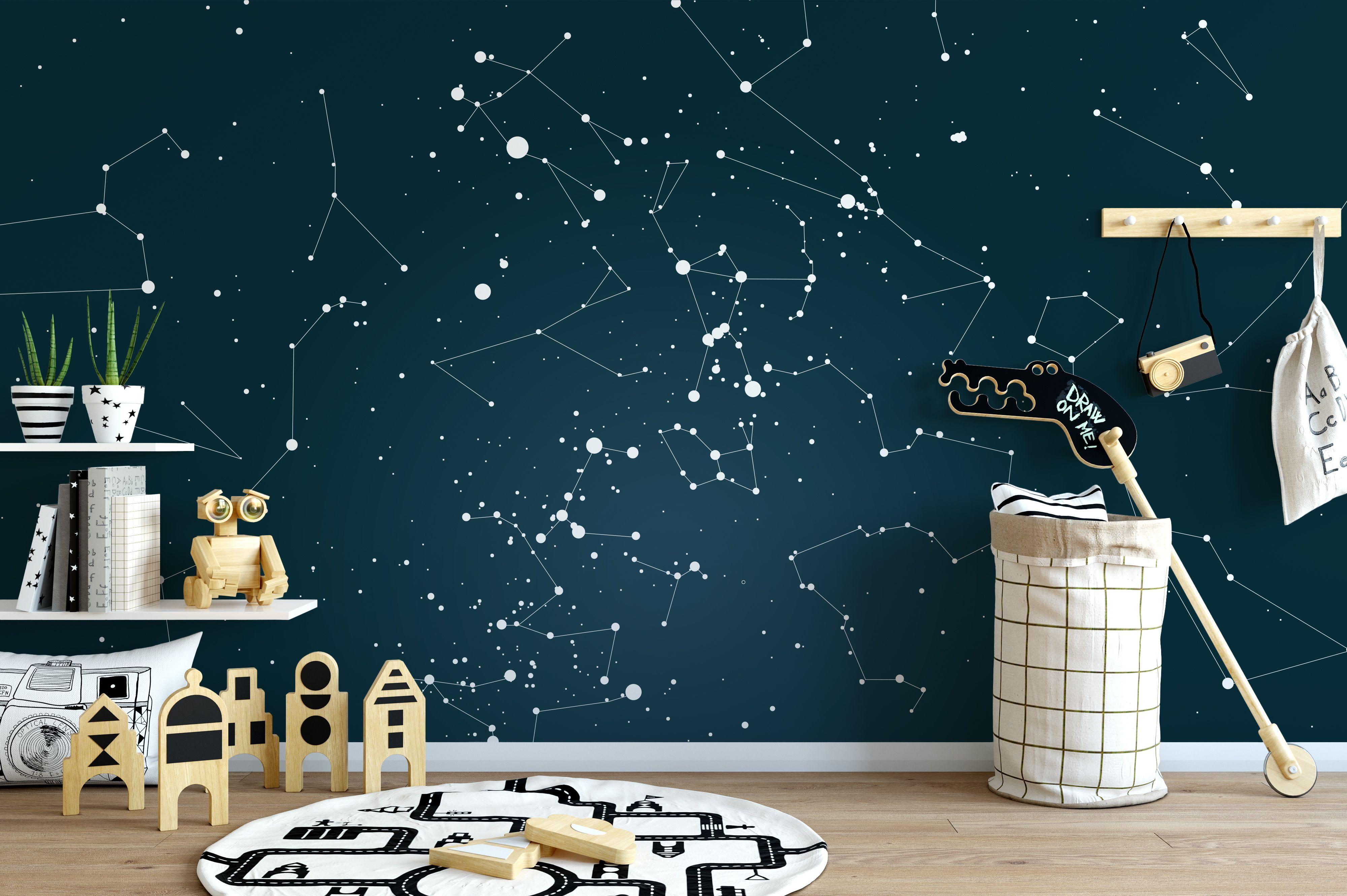Custom Star Map Constellation Mural Wallpaper Star Map Bedroom Decor Wall Art By Strell Wallpaper Bedroom Kids Room Wall Art Wallpaper Bedroom Feature Wall