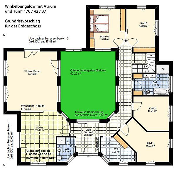 atrium 7 2 winkelbungalow turm 170 42 37 einfamilienhaus. Black Bedroom Furniture Sets. Home Design Ideas