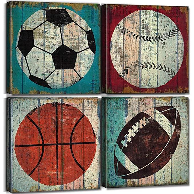 Amazon Com Sports Decor For Boys Room Sports Wall Art Decor Soccer Ball Basketball Home Decoration Canvas Print In 2020 Sports Wall Art Sports Decorations Sports Wall