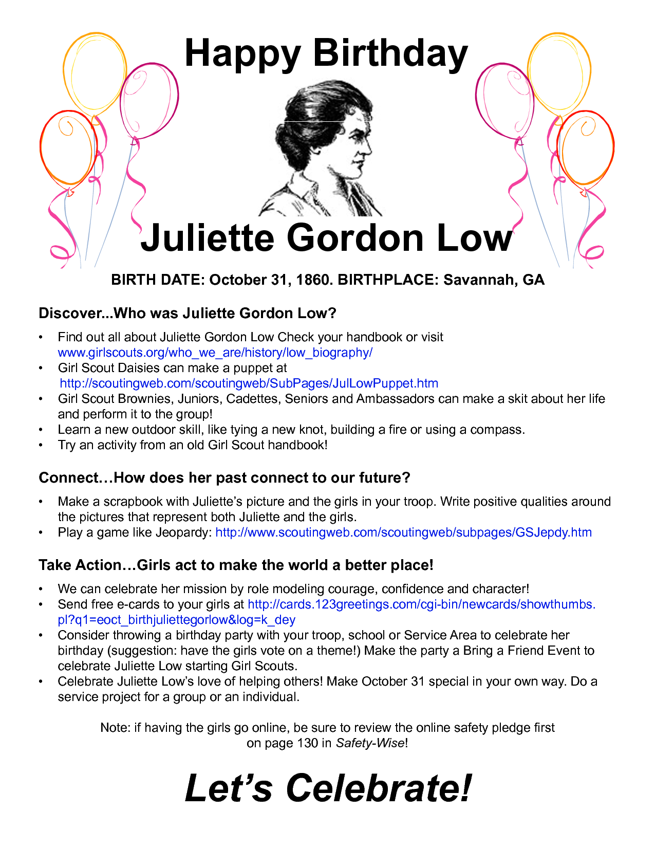 Juliette Gordon Low Birthday Bash - Perfect for the troop that goes ...