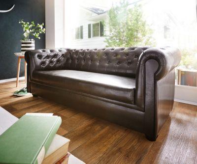 Couch Chesterfield Braun 3-Sitzer Sofa Abgesteppt Gepolstert Jetzt - wohnzimmer sofa braun
