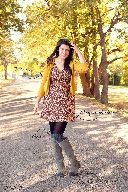 Yellow dress gray cardigan for women