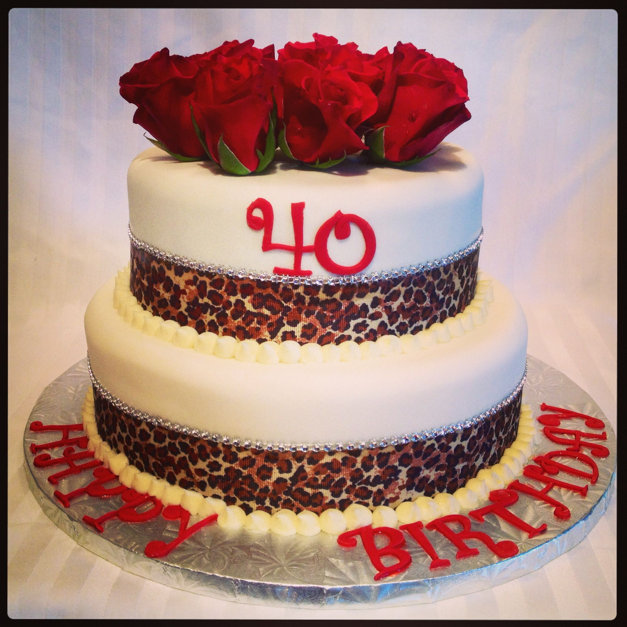 Cougar 2 Tier 40th Birthday Cake With Fresh Roses