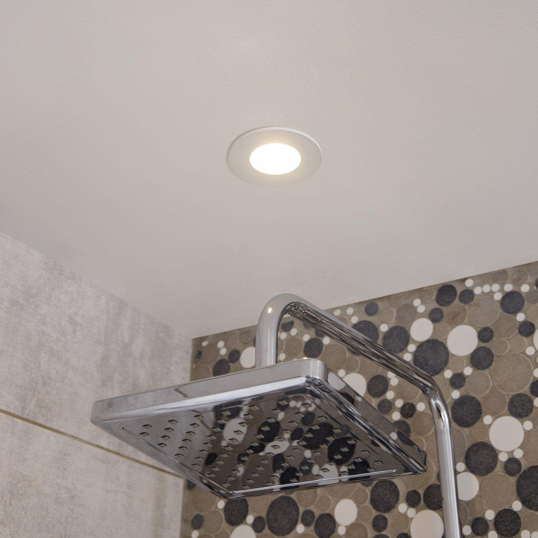 Kit 1 Spot A Encastrer Fixe Kilia Led Integree Inspire Rond Blanc Deco Salle De Bain Toilette Led Et Spots